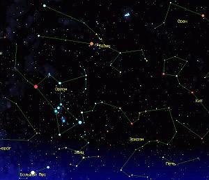 Orion a Býk, zimní souhvězdí
